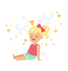 cute blonde little girl sitting and dreaming about vector image vector image