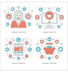 Flat line Manager Search Products Shopping vector image vector image