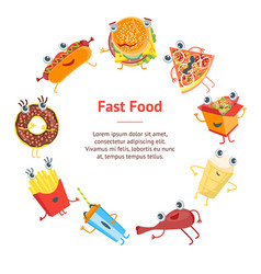 cartoon color fast food characters banner card vector image vector image