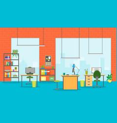 cartoon office room interior vector image vector image