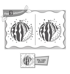 find 9 differences game black watermelon vector image vector image