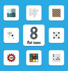 flat icon games set of poker backgammon chess vector image vector image