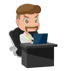 Old Man Style Working Laptop vector image