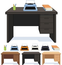 Wood desk with typewriter set of vector image vector image
