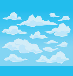clouds in geometric flat faceted style on blue vector image