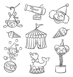 collection object circus doodle style hand draw vector image vector image