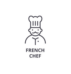 french chef line icon outline sign linear symbol vector image vector image