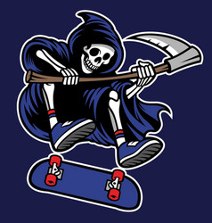 grim reaper riding skateboard vector image vector image