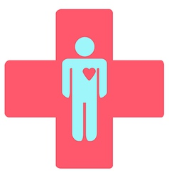 medical cross with a man vector image vector image