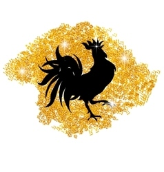 Stylized black cock on a background of golden sand vector image