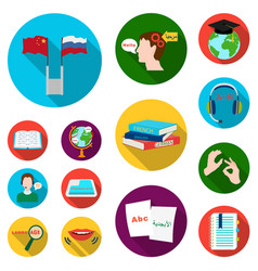 translator and linguist flat icons in set vector image vector image