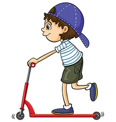 A boy on a scooter vector image