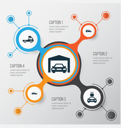 auto icons set collection of van repairing car vector image