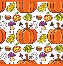 Autumn seamless pattern with ripe pumpkins vector