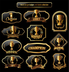 Award design black and golden labels collection vector