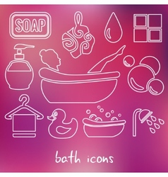 Bath outline icons vector