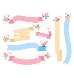birds with ribbon cute little flying vector image