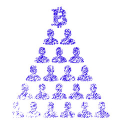 Bitcoin ponzi pyramid icon grunge watermark vector