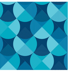 blue geometric patterns patchwork vector image