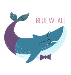 blue whale in bowtie childish cartoon character vector image