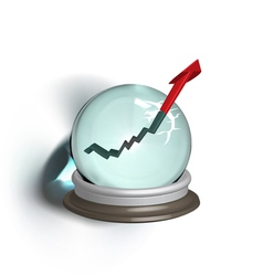 Broken magic crystal ball and finance arrow vector