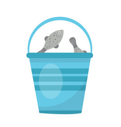 bucket of fish icon flat cartoon style isolated vector image