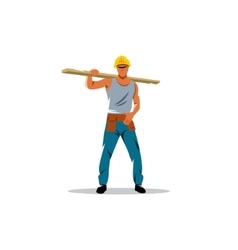 Builder man sign Male in helmet carrying wooden vector
