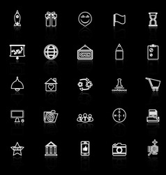 Business start up line icons with reflect on black vector