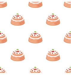 Cake with cherry icon in cartoon style isolated on vector