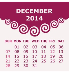 Calendar of December 2014 with spiral design vector image