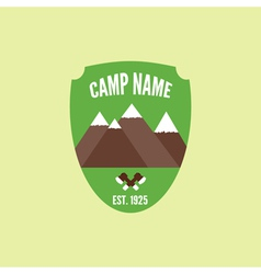 Camping mountain logo with axe colorful labels vector
