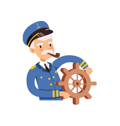 Captain character behind the wheel sailor in blue vector