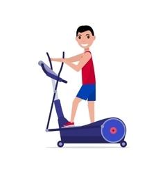 cartoon boy on elliptical cross trainer vector image