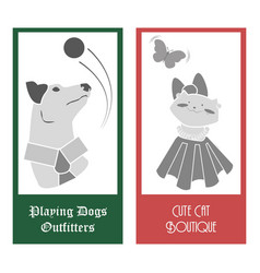 cats and dogs logos vector image