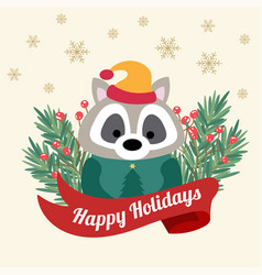 christmas card with tree braches and funny raccoon vector image