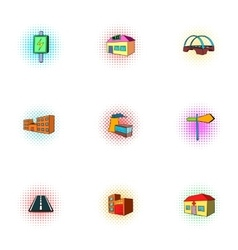 City buildings icons set pop-art style vector image