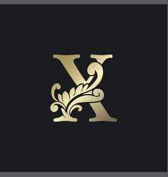 Classy gold letter x luxury decorative initial vector