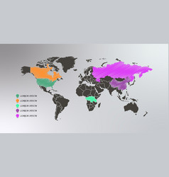 Collection 3d map pointers with world map vector