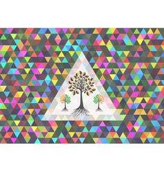 Colorful triangle background with trees vector image