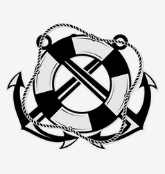 crossed nautical anchors and lifebuoy vector image