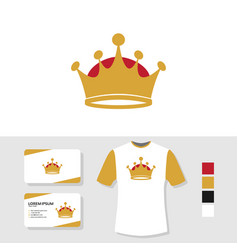 Crown logo design with business card and t shirt vector