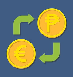 Currency exchange Euro and Peso vector image