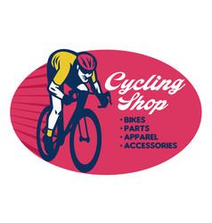 Cycling shop badge design vector
