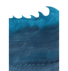 dark blue ocean wave and under sea watercolor vector image