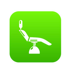 Dentist chair icon green vector