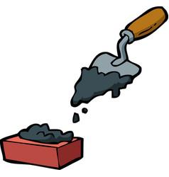 doodle trowel and brick vector image