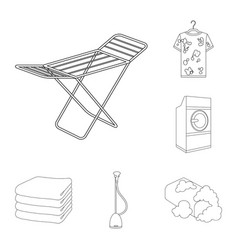 Dry cleaning equipment outline icons in set vector