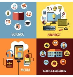 Educational concept designs in flat style vector image