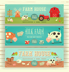 Farm house web banner hero image vector