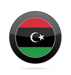 flag of libya shiny black round button vector image
